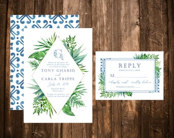 Portuguese Tile Tropical Wedding Invitations; Foliage; Greenery; Blue Tiles; Printable OR set of 25