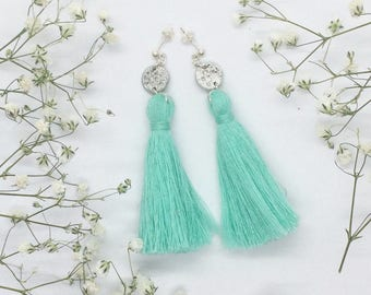 Light green tassel earrings