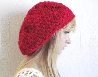 Chunky Burgundy Crochet Hat, Womens Slouchy Beanie, Oversized Slouch Beanie, Fuzzy Hat, Slouchy Hat, Winter Hat by Vikni Designs
