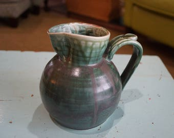 "Hand Thrown Green Pottery Pitcher 1972 5.75"" Tall"