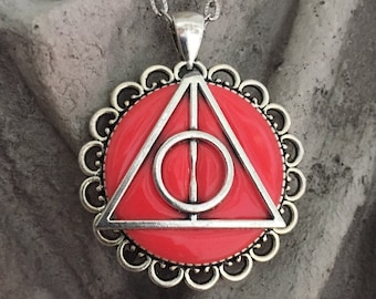 Deathly Hallows Lunas Glowing Pendant - Sign of the Deathly Hallows Necklace, Peverell Brothers, Three Legendary Objects