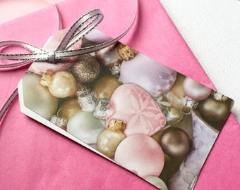 Pink Christmas bauble gift tags. Pastel Christmas gift tags. Patterned gift tags, Xmas gift wrapping, gifts. Large gift tags, value pack.