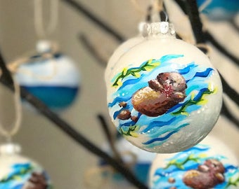 Sea otter christmas ornament hand painted