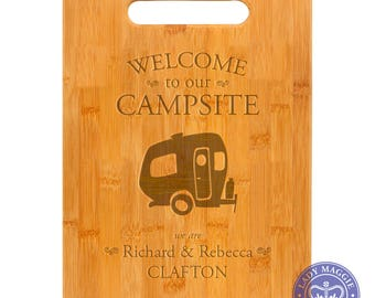 Personalized Single Wheel Camper Cutting Board 11.5x8.75 Welcome to our Campsite Bamboo Custom Engraved Cutting Board - Single Wheel Camper
