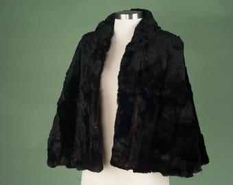Vintage Black Fur Cape