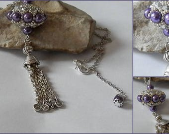 long purple and silver Czech glass and polished beads