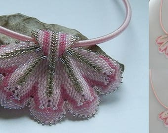 Pink and silver woven necklace