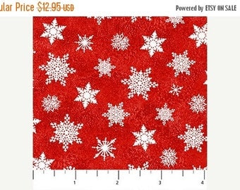 Anniversary Sale Santa Clause is Coming to Town~Red Snowflakes~Christmas Cotton Fabric by~Northcott~Fast Shipping HC456