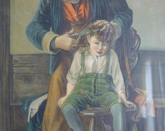 First Haircut Picture- WON'T I BE A FRIGHT ~ Maybe Grandpa giving hair cut! Charming Victorian epsteam capsteam