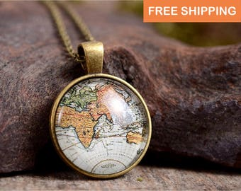 Map necklace, travel gift, travelling jewelry, travelling gift, world necklace, birthday gift for her, girlfriend gift, best friend gift