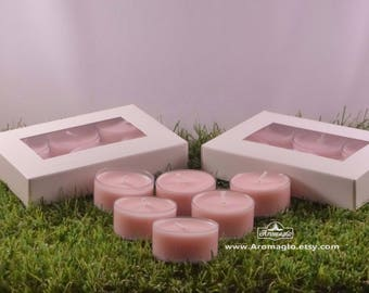 Rose Geranium All Natural soy wax TEALIGHT Pack. Coloured withEco Friendly handcrafted dye, hand poured, vegan.