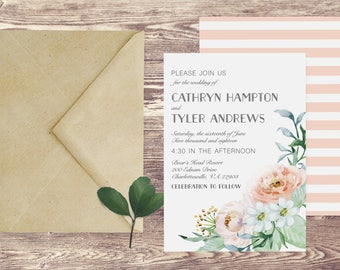 The Charlottesville Wedding Invitation and RSVP Set, Floral Watercolor Wedding Invitation, Floral Wedding Invitation, Custom Wedding Invite