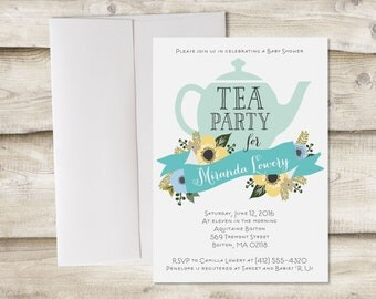 Tea Party Baby Shower Invitation, Tea Party Baby Boy Shower Invitation, Baby Shower Tea Party Invitation, Tea Party Bridal Shower Invitation