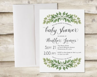Greenery Baby Shower Invitation, Couples Baby Shower Invitation, Baby Shower Invitation, Gender Neutral Baby Shower Invitation, Greenery