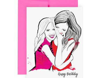 Birthday Hugs - Greeting Card, Friends, Illustration, Fashion, Art, Happy Birthday, Blank Interior