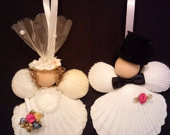 Wedding Ornament - Bride and Groom Scallop Shell Ornaments - Beach Decor - Set of 2 - FREE SHIPPING