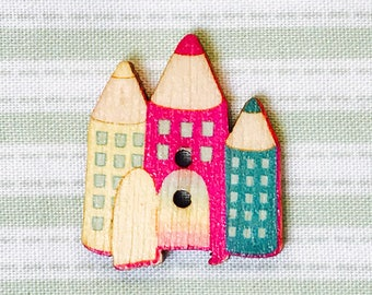 wood button pencil house