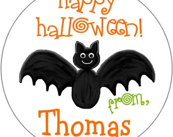 Halloween Treat Bag Stickers Bat Personalized Labels Party Favor Label gift tag Goodie Bag Address Label Stickers