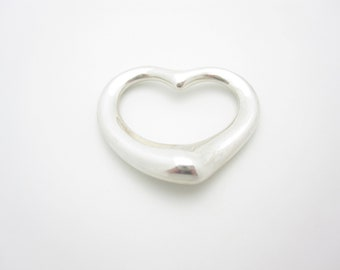 "Tiffany & Co. Sterling Silver Elsa Peretti Large 1"" Open Heart Pendant"