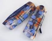 Manchettes-mitaines en laine feutré brodées-Feuille à enrouler-bleu-orange