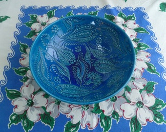 Turkish Ceramic Bowl, 10 inch bowl, serving bowl, turquoise raised bowl, fruit bowl, wedding present