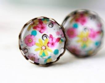 Earrings, 12 mm, flower, flower