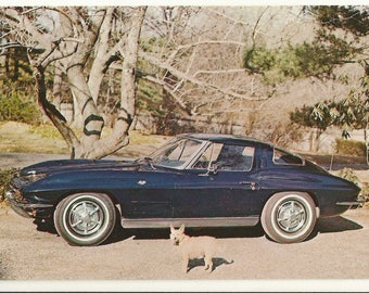 1960s Chrome Postcard- Antique Automobile 1963 Chevrolet Corvette Sting Ray, Long Island Auto Museum, Southampton, N.Y. ~ Free Shipping