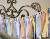 "72"" Rag Tie Backdrop Garland, Easter Hand tied Fabric Garland, Spring Polka Dot Cotton Fabric Fringe, Sweets Table Banner, He is Risen"