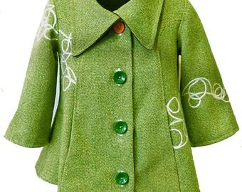 """Jacket trapezoid/coat woman original and comfortable wool fabric green speckled T34/36 """"pistachio"""""""