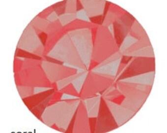coral (padparadascha) flatback crystals/rhinestones - one gross