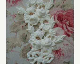 On Sale10% Shabby and Chic Rose Floral Center/Side/ Drop Furniture Applique Architectural Pediment