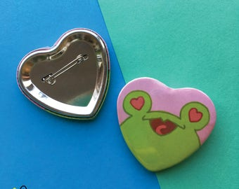 Floris in Love   Heart shaped button   frog toad pin