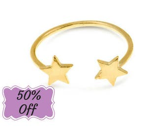 Star Ring, Star Jewelry, Gold Star Ring, Open Ring, Adjustable Ring, Ladies Gold Ring, Gold Filled Jewelry, Casual Ring, Everyday Ring