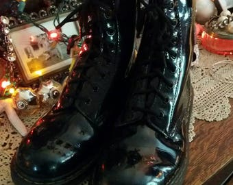 super shiny black patent leather doc martens... size 9 ladies..doc martens boot...adorable with your long surfsisters beach dress..FREE SHIP