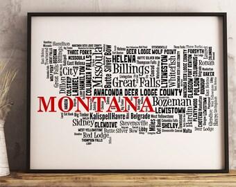Montana Map Art, Montana Art Print, Montana City Map, Montana Typography Art, Montana Wall Decor, Montana Moving Gift