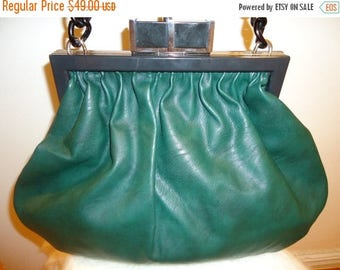 The SALE Is On SALE Beautiful Dark Green Leather Frame Handbag (10% Off Coupon at Checkout)