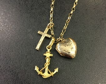 9ct gold faith hope and charity pendant