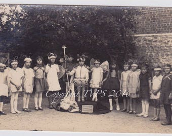 Vintage Photo Kids in costumes Fairy King and Queen RPPC photo