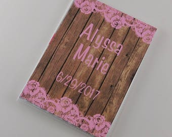 Girl photo album personalized photo album rustic 4x6 photo album 5x7 Grandmas Brag Book NOT WOOD Pink lace 833