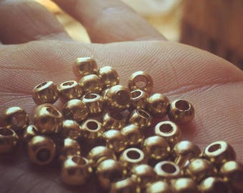Round Spacer Bead BRASS beads 5 MM 50\100\500 PC art supplies Tribal Brass Bead, Ethnic Gold Bead, metal spacers, matte gold, macrame
