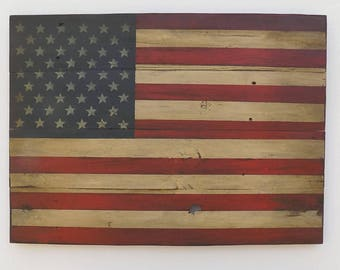Rustic American Wooden Flag, 22X 30 inches. Made from recycled fencing. Free Shipping D