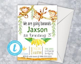 Monkey Birthday Invitation, Monkey Birthday Party, Monkey Invitation, Editable Birthday Invitation Boy, Let's Go Bananas, Monkey Party