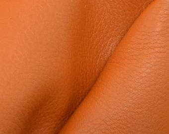 "Pumpkin Orange Leather New Zealand Deer Hide 4"" x 6"" Pre-cut 2-3 ounces-30 DE-66167 (Sec. 3,Shelf 5,A,Box 2)"