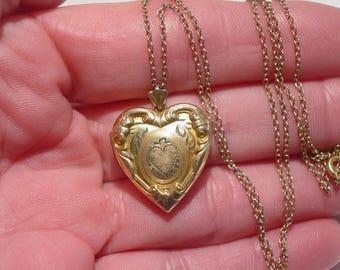 Antique Gold Filled Repousse Heart Locket Photo Pendant Necklace