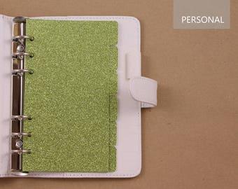 6 Dividers for Personal planner, green dividers glittered, planner dividers for Filofax, Kikki K, Louis Vuitton