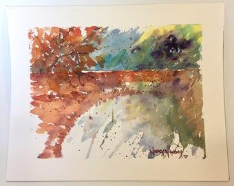 Framed Watercolor Bridge