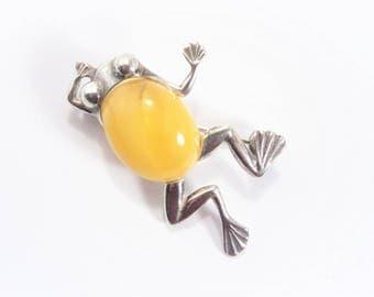 Vintage Art Glass Sterling Frog Brooch