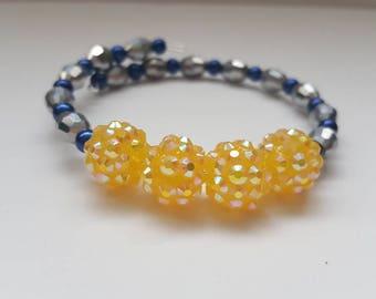 Yellow bead bracelet, blue bracelet, silver bracelet, silver wrap bracelet, yellow bangle, beaded bracelet, boho bracelet, boho jewelry,