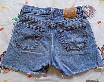Vintage 80's Levi's 501XX cut off Jean Shorts, 28 waist button fly worn in