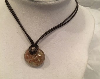 Leather and Glass Pendant Necklace